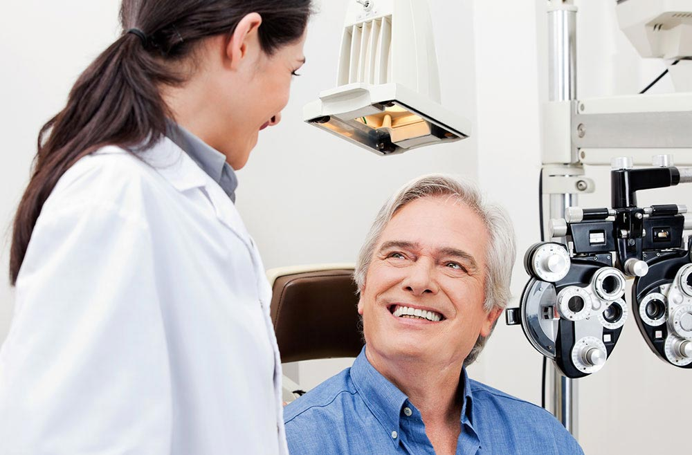 male patient at eye appointment
