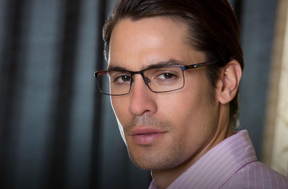 man wearing metal frame glasses