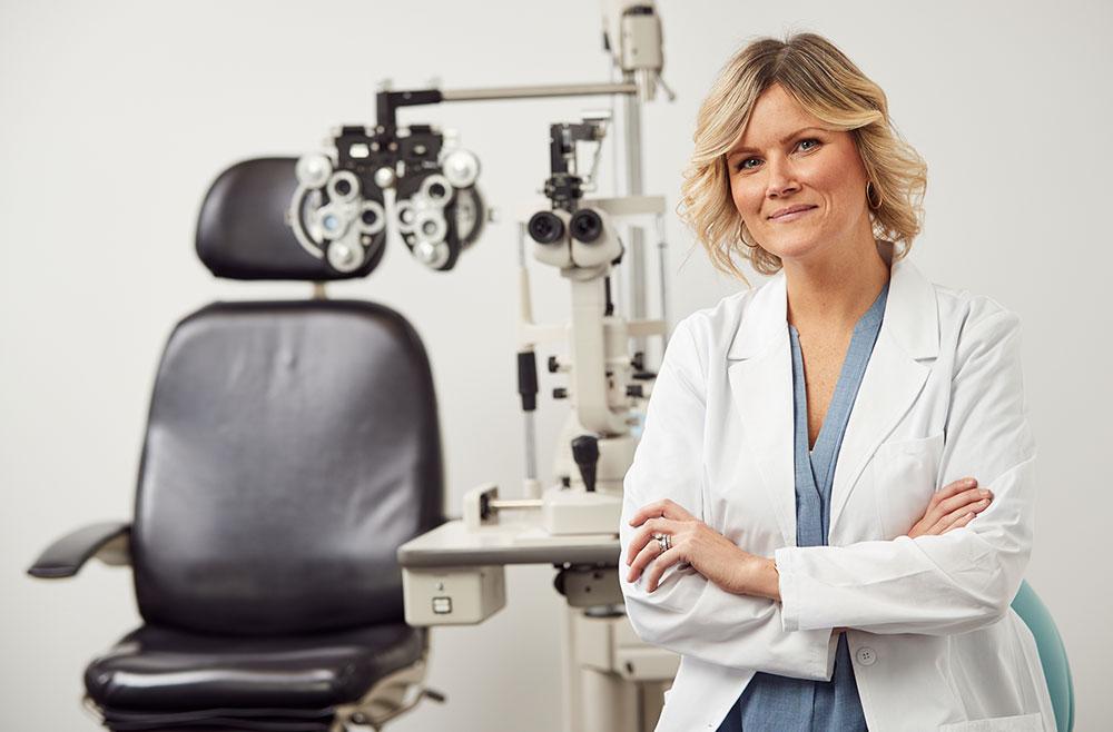 eye doctor in exam room