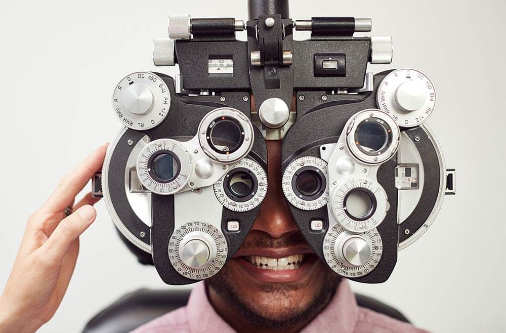 man during eye exam