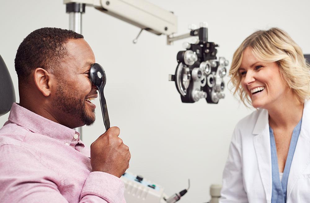 man getting eye exam at shopko optical