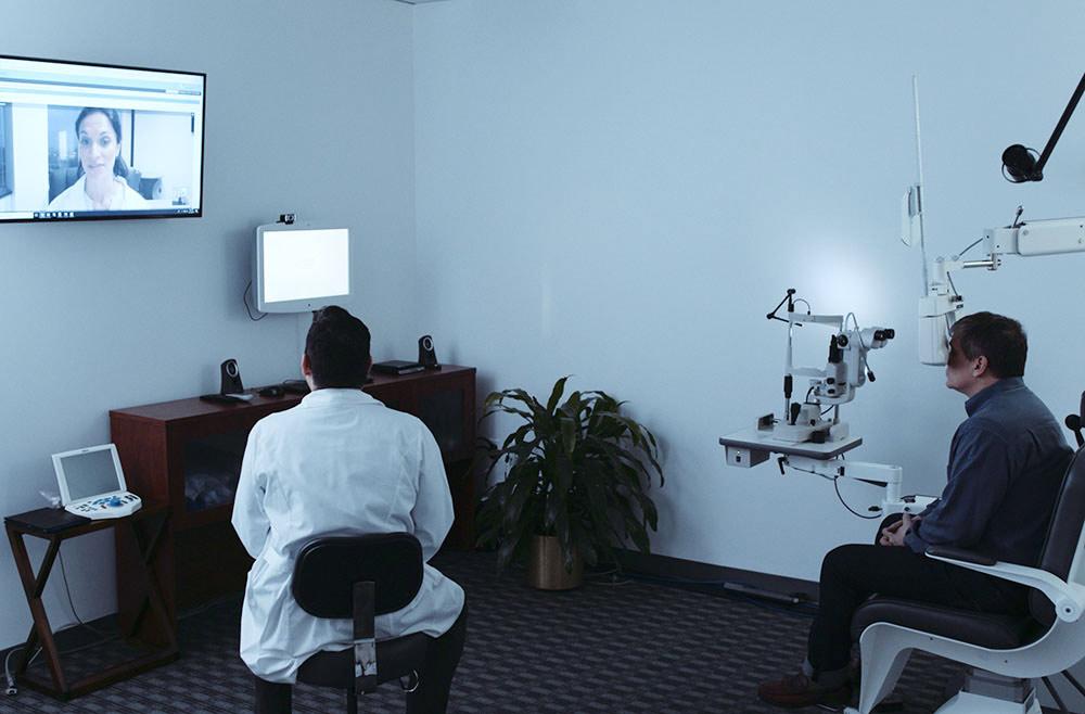 patient receiving digital eye exam