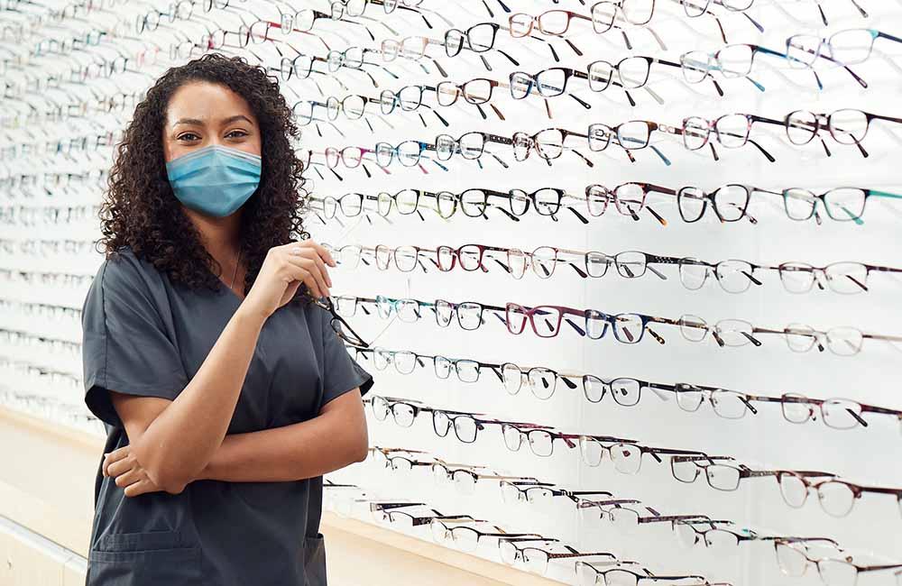 Optician wearing mask