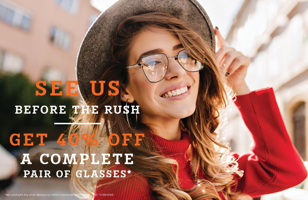 girl with glasses- see us before the rush - Eyecare Month
