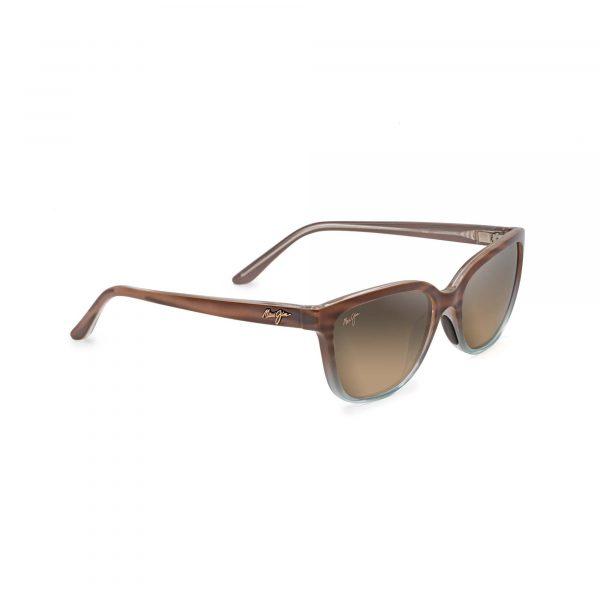 Honi Quarter Maui Jim Sunglasses Blue and Brown Ombre - Side View