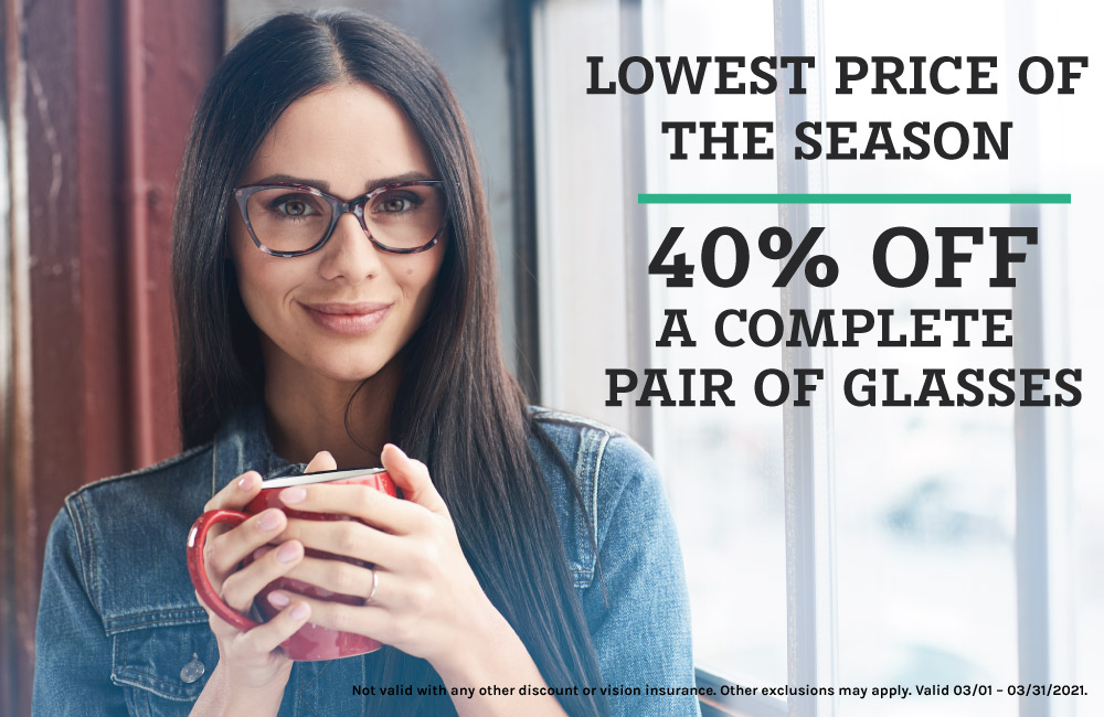 Woman Wearing Glasses- 40% off Complete Pair of Frames